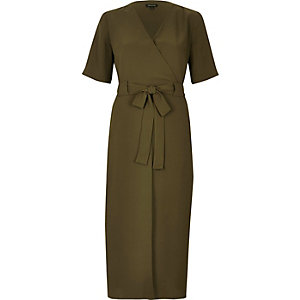 Khaki green wrap midi dress