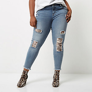 Plus blue sequin Alannah relaxed skinny jeans