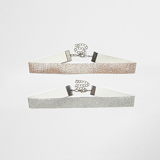 Gold and silver glitter choker necklace pack