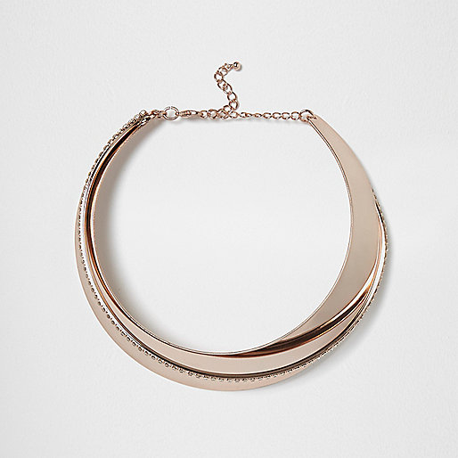 Rose gold tone swirl pave necklace