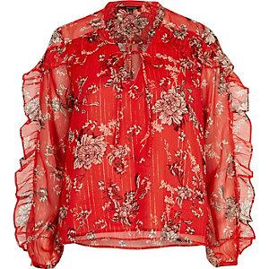 Rote Bluse mit Blumenmuster und Rüschen