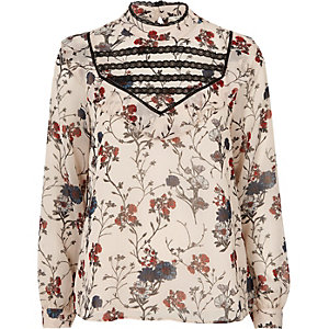 Cream print bib blouse