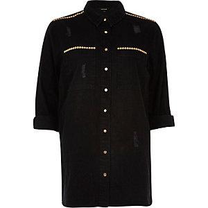 Black stud distressed denim shirt
