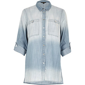 Chemise en jean oversize bleu délavé