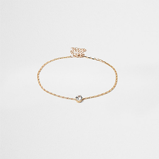 Gold tone drop crystal choker