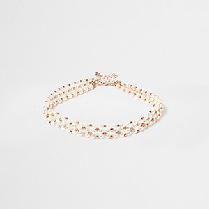 White pearl and gem choker