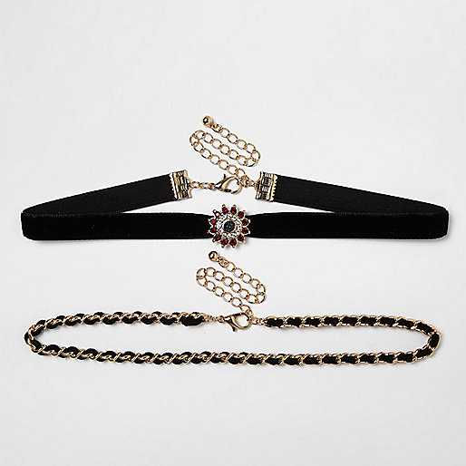 Gold tone encrusted chain double row choker