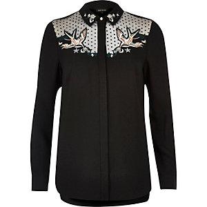 Black swallow embroidered mesh collar shirt