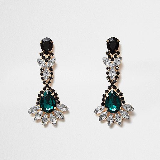Emerald dangly earrings