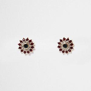 Green flower stud earrings