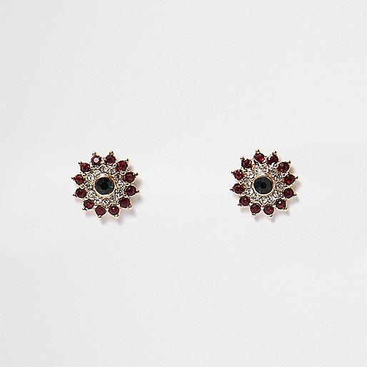 Clous d'oreilles motif fleur verts