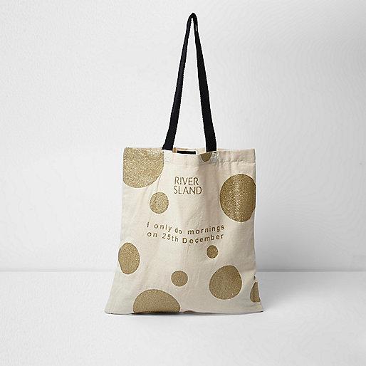 Goldene Shopper-Tasche mit Weihnachtsmotiv
