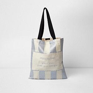 Silver glitter Christmas shopper bag