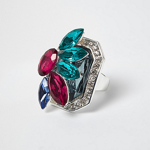 Silver tone cocktail gem ring