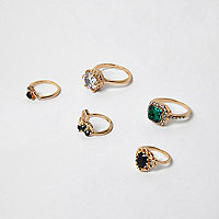 Gold tone statement rings pack