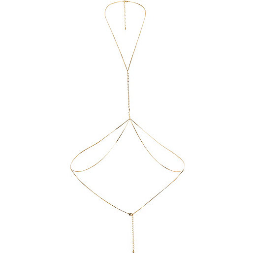 Gold tone diamanté chain body harness