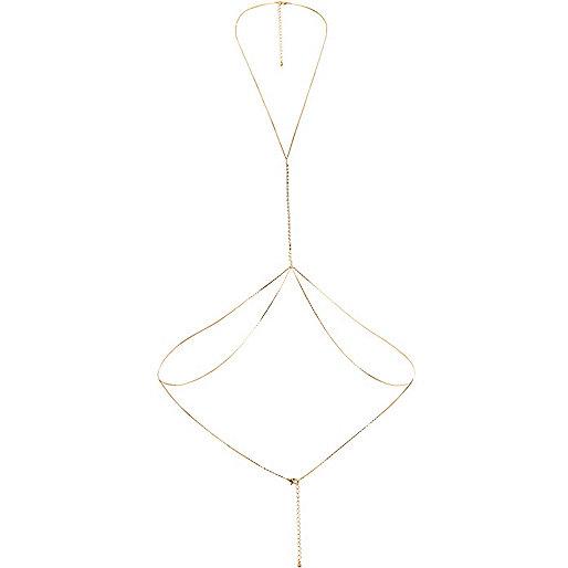 Gold tone diamanté chain body harness