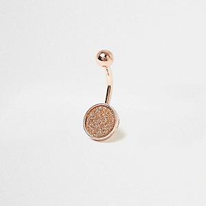 Rose gold glitter belly ring bar