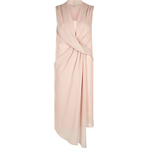 Light pink drape front swing dress