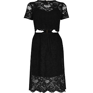 Black lace trim cut out T-shirt dress