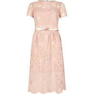 Blush pink lace trim cut out T-shirt dress