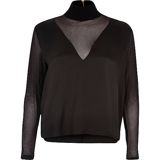 Black mesh panel turtleneck top