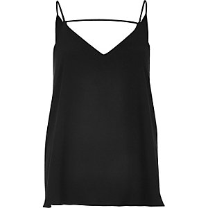 Black front bar cami