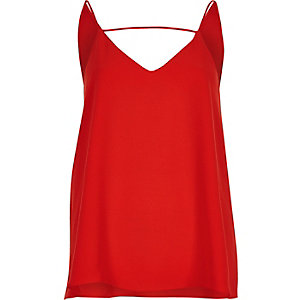 Red front bar cami