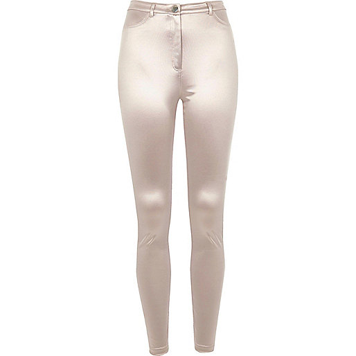 Pantalon skinny gris brillant