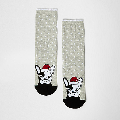 Chaussettes imprimé chien de Noël grises