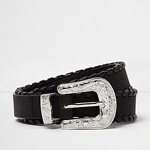 Black whipstitch Western belt