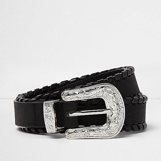 Black whipstitch Western belt