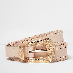 Cream whipstitch Western belt