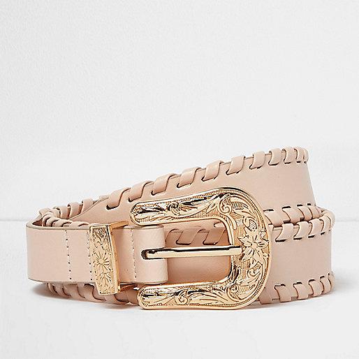 Cream whipstitch Western belt
