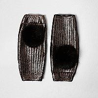 Black gold metallic knit pom pom handwarmers