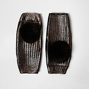 Black gold metallic knit pom pom handwarmers
