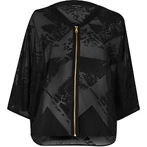 Black satin burnout light bomber jacket