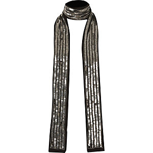 Silver sequin skinny scarf