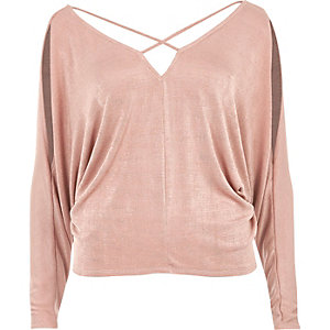 Pink cold shoulder strappy batwing top