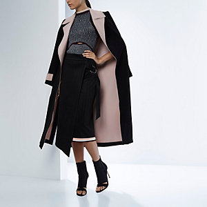 RI Studio black double-sided open duster coat