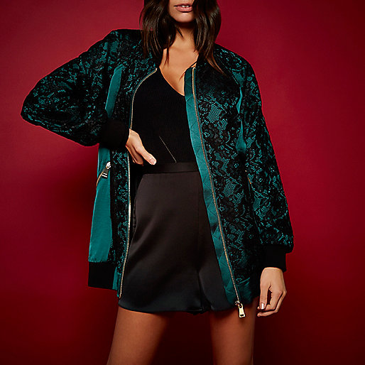 RI Studio green satin lace oversized bomber