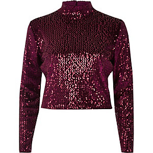 Burgundy sequin turtleneck crop top