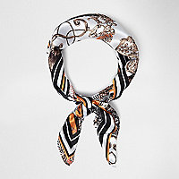 Black print neck scarf