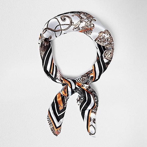 Black print neck scarf