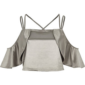 Silver satin frill cold shoulder crop top