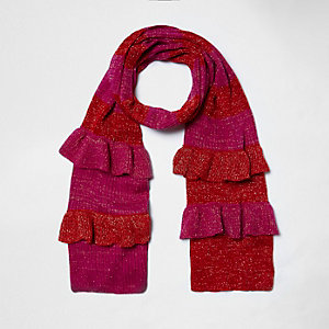 Pink metallic knit stripe frill scarf
