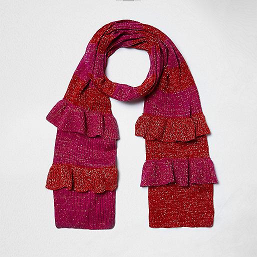 Schal in Pink-Metallic mit Streifen und Rüschen