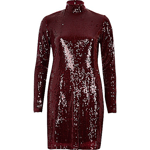 Red turtleneck sequin dress