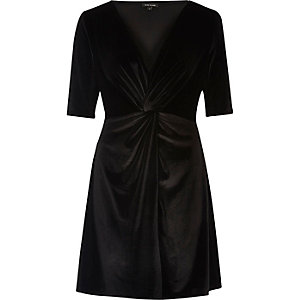 Black knot front velvet skater dress