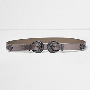Metallic grey double buckle Western belt